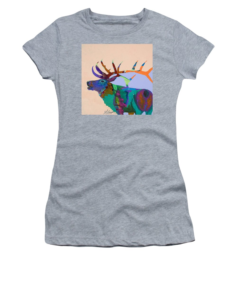 Elk Women's T-Shirt (Athletic Fit) featuring the painting The Call by Tracy Miller