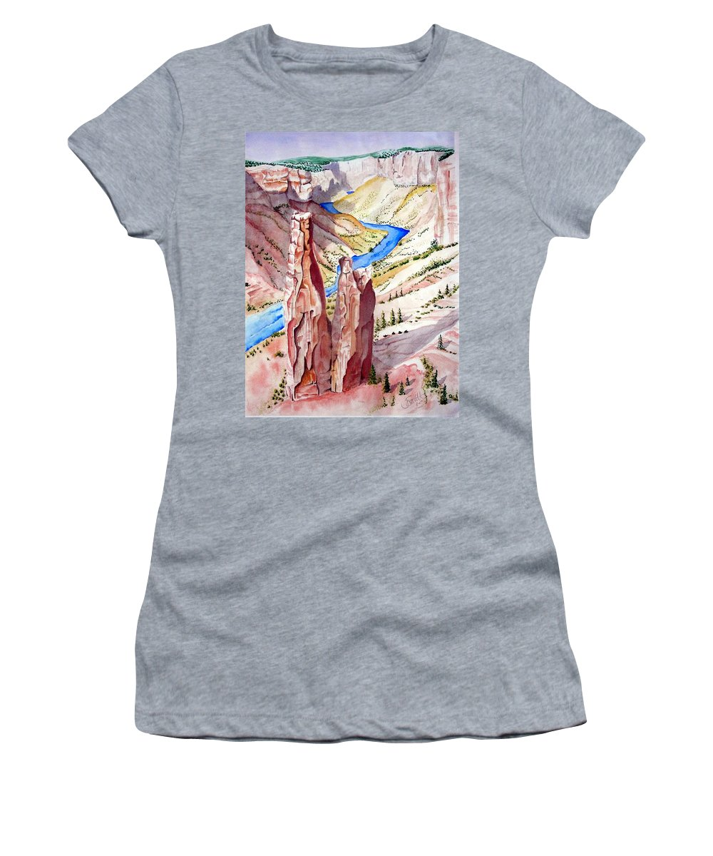 Canyon Women's T-Shirt (Athletic Fit) featuring the painting The Canyon by Jimmy Smith