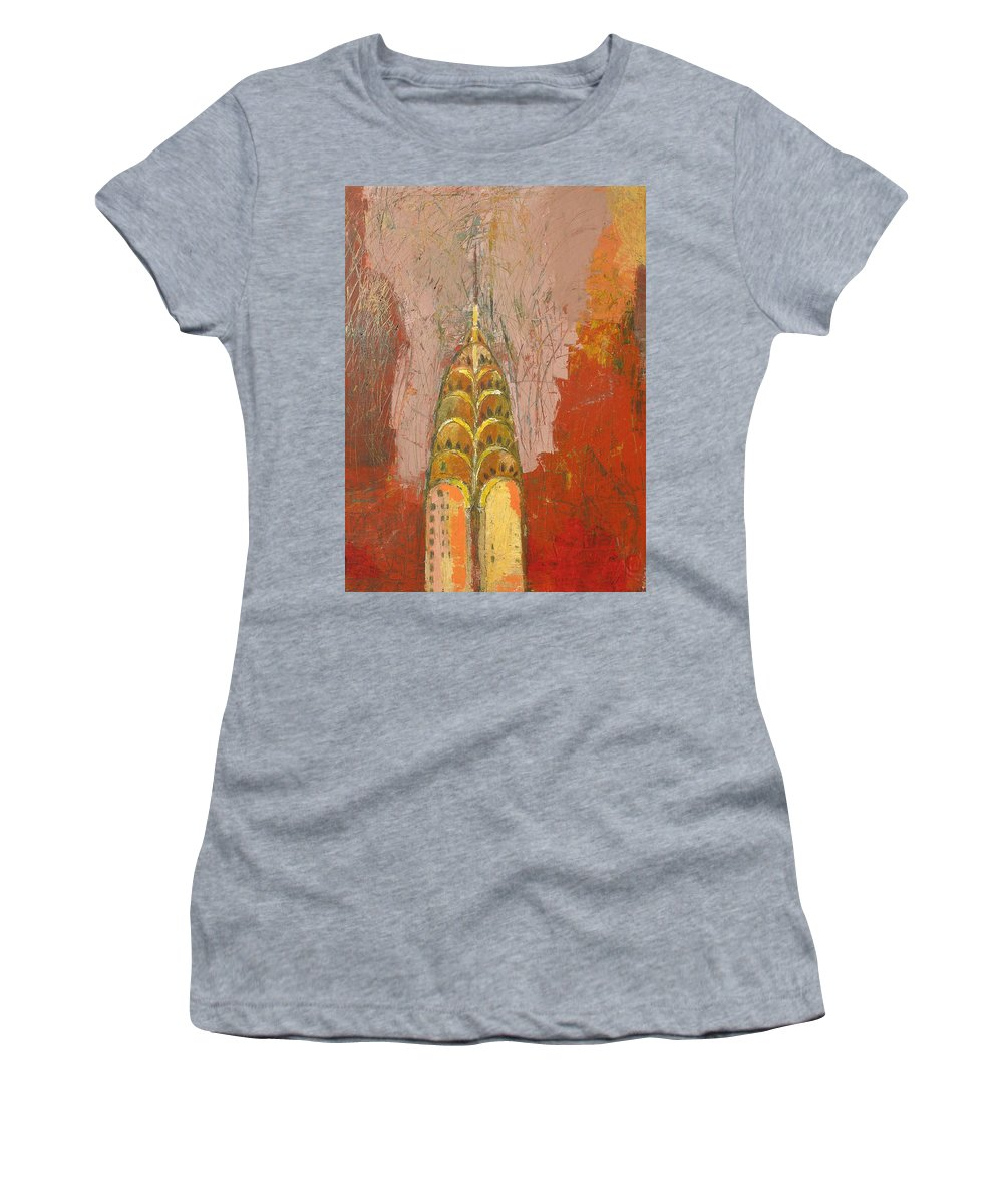 Abstract Cityscape Women's T-Shirt (Athletic Fit) featuring the painting The Chrysler In Motion by Habib Ayat