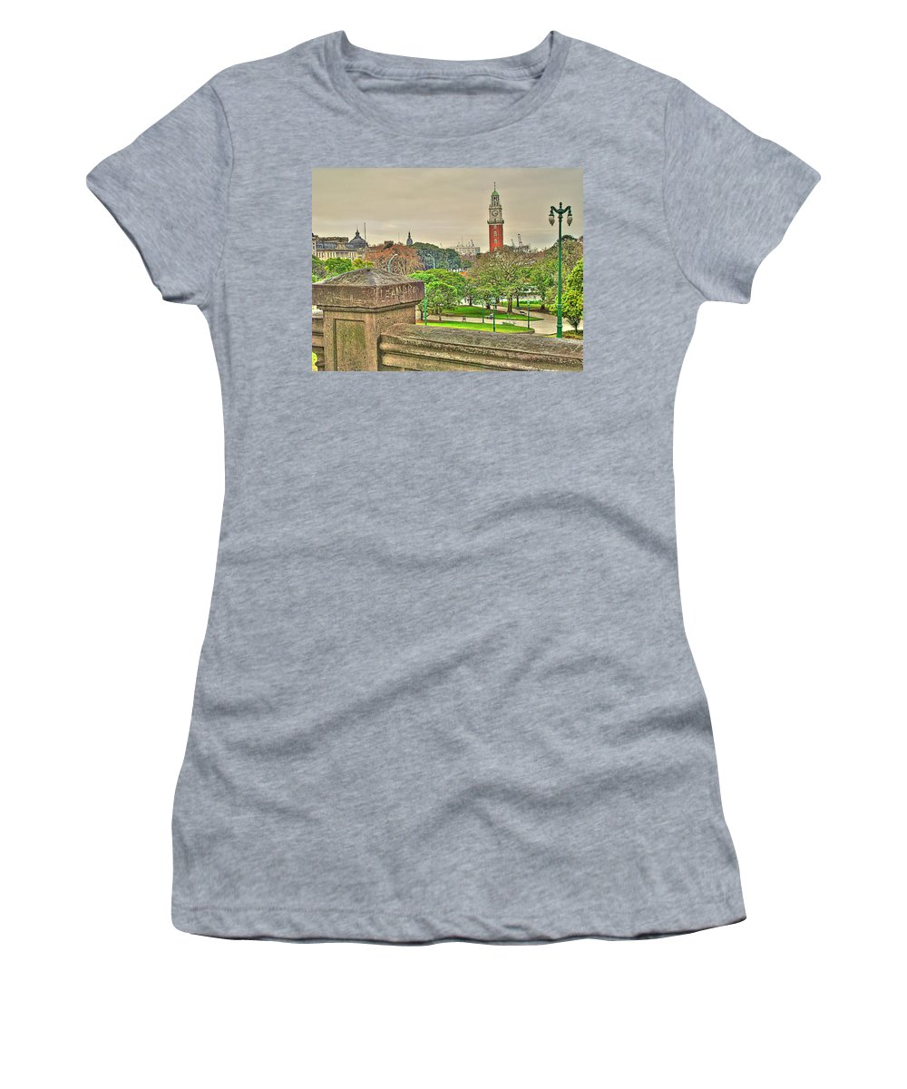 Clock Women's T-Shirt (Athletic Fit) featuring the photograph the Clock by Francisco Colon