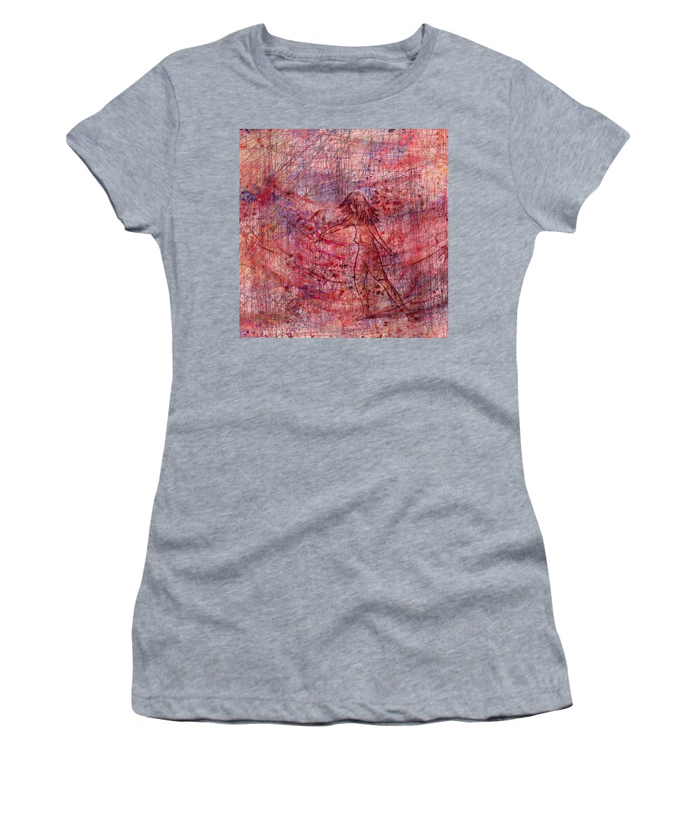 Abstract Women's T-Shirt (Athletic Fit) featuring the digital art The Dancer by Rachel Christine Nowicki
