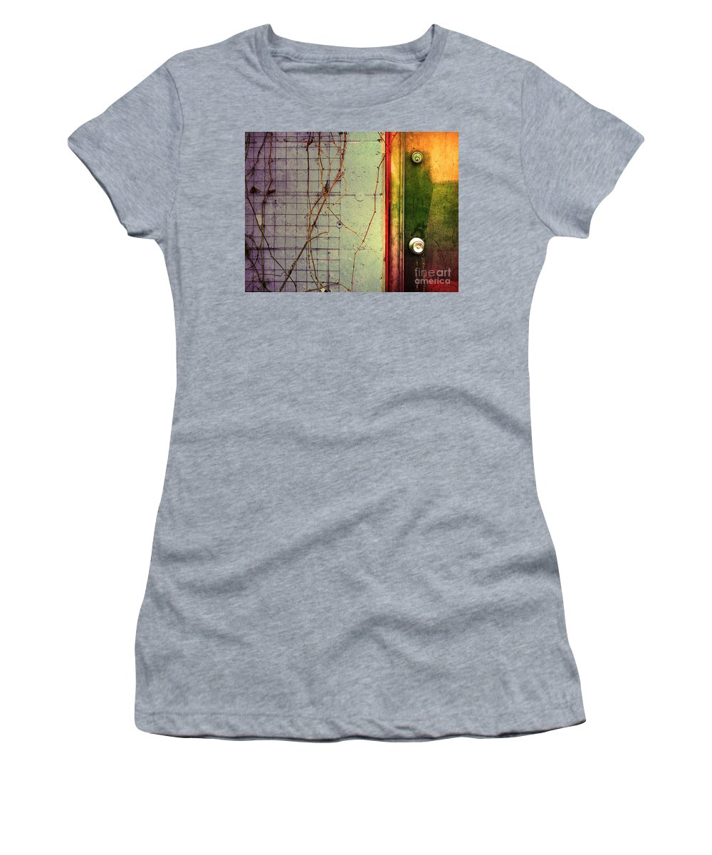 Weeds Women's T-Shirt (Athletic Fit) featuring the photograph The Door The Wall And The Weeds by Tara Turner