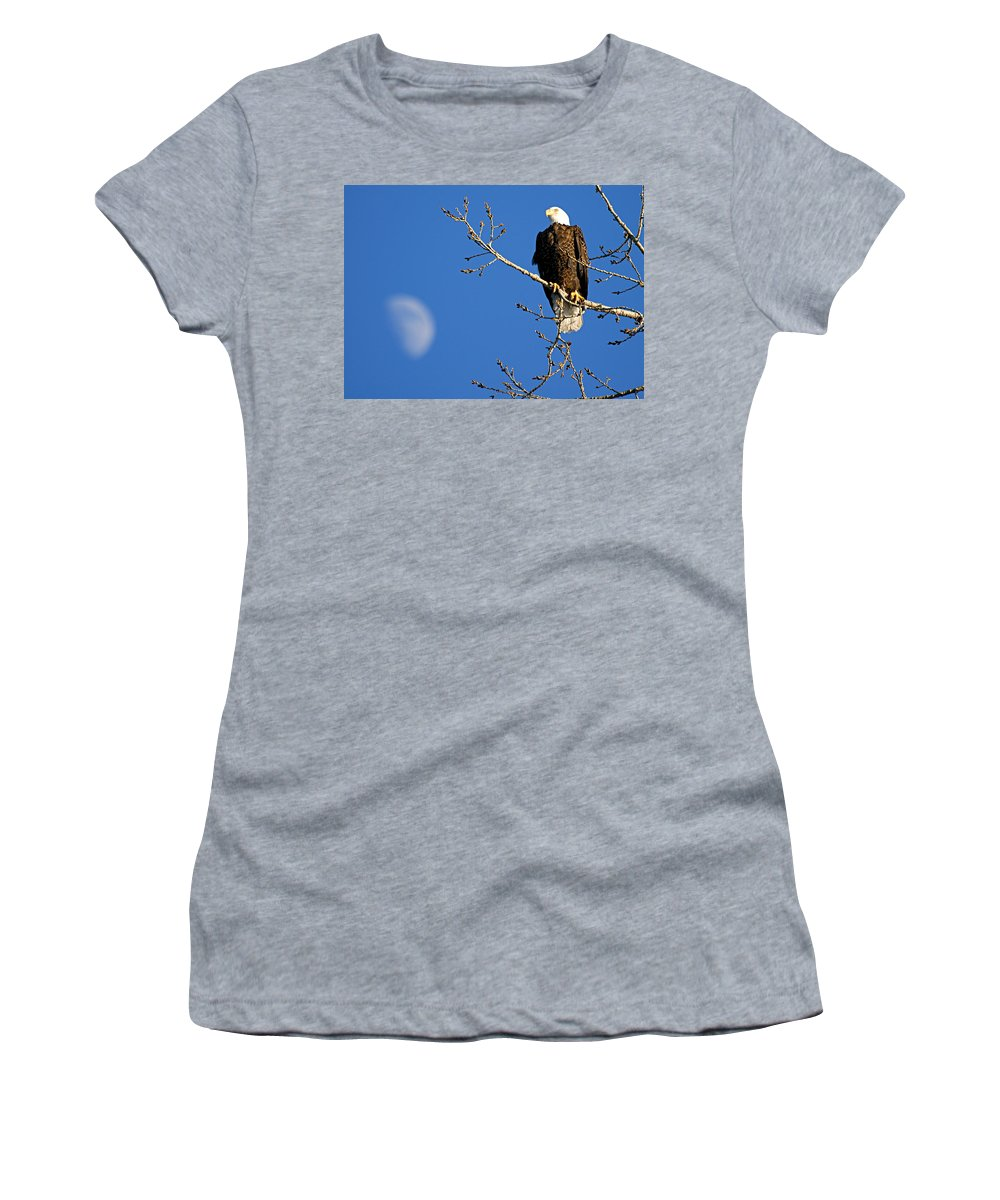 American Bald Eagle Women's T-Shirt (Athletic Fit) featuring the photograph The Eagle Has Landed by Larry Ricker