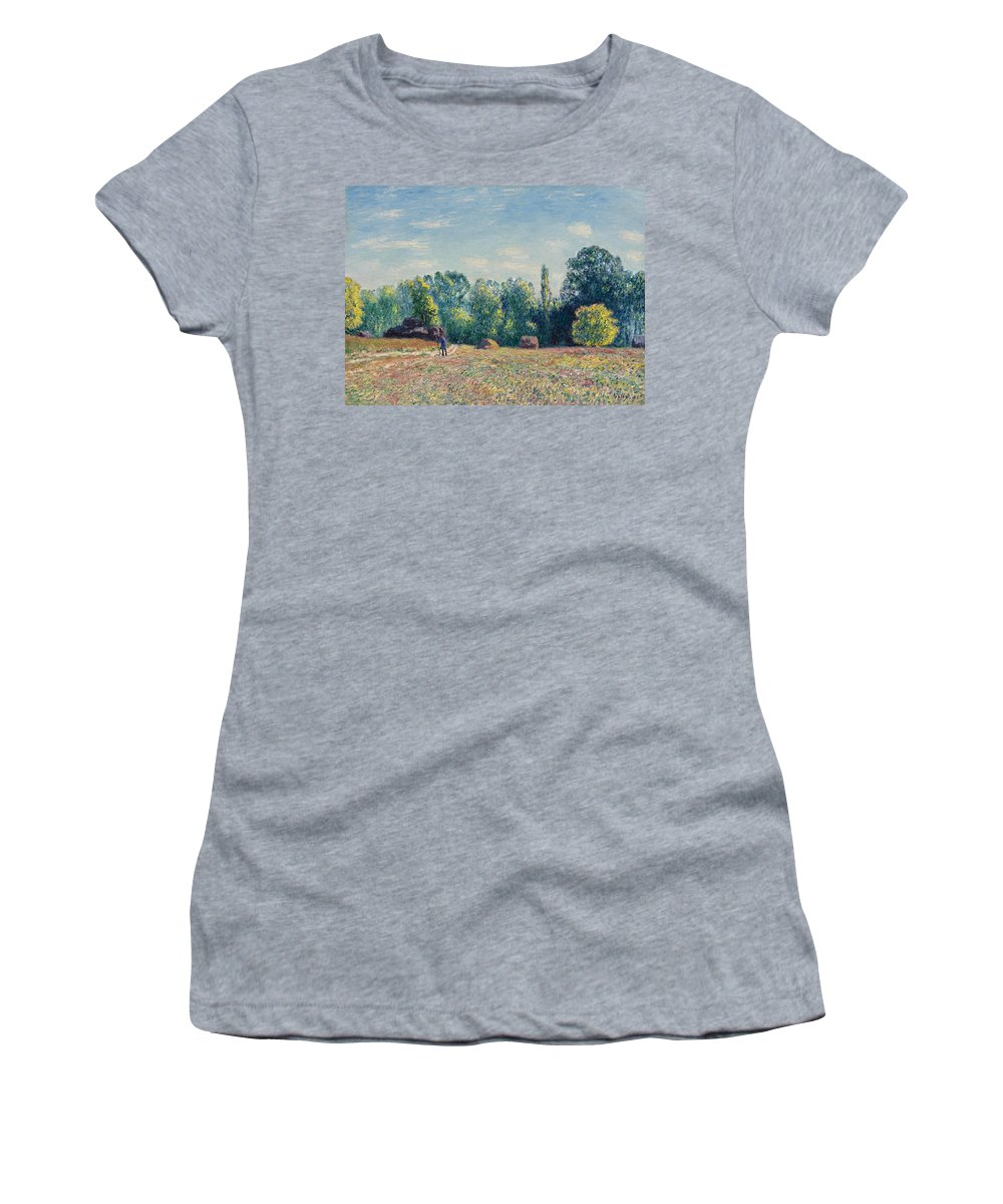 Alfred Sisley Women's T-Shirt (Athletic Fit) featuring the painting The Edge Of The Forest 2 by Alfred Sisley