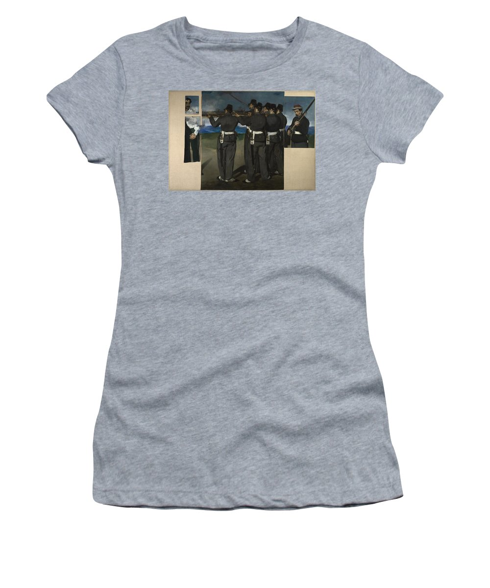 Edouard Women's T-Shirt (Athletic Fit) featuring the digital art The Execution Of Maximilian by PixBreak Art