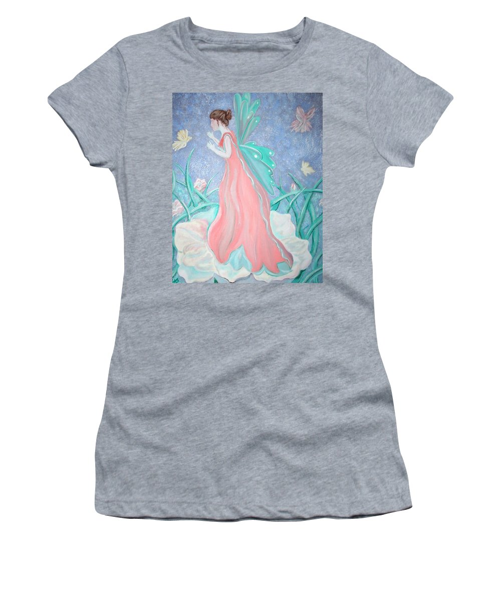 Fairies Women's T-Shirt (Athletic Fit) featuring the painting The Fairy Greeting by Lisa Stanley