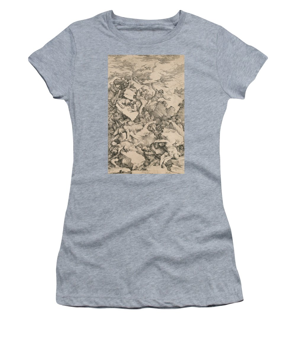 17th Century Art Women's T-Shirt featuring the relief The Fall Of The Giants by Salvator Rosa