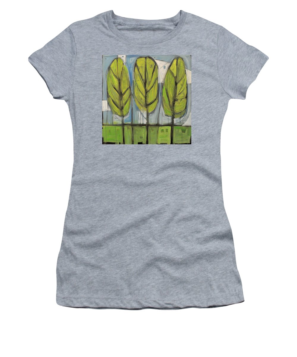 Trees Women's T-Shirt (Athletic Fit) featuring the painting the Four Seasons - spring by Tim Nyberg