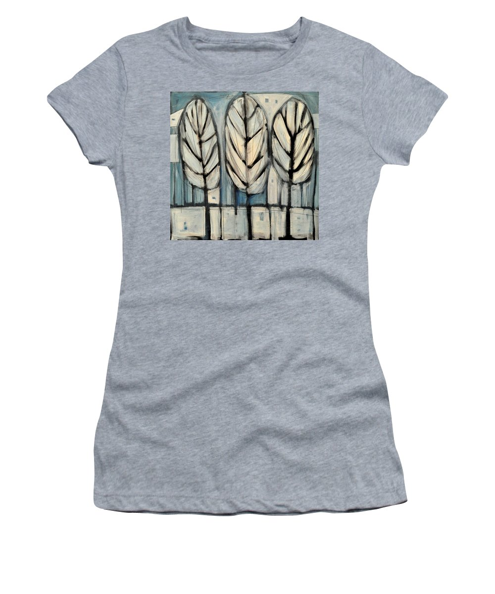 Trees Women's T-Shirt (Athletic Fit) featuring the painting The Four Seasons - Winter by Tim Nyberg