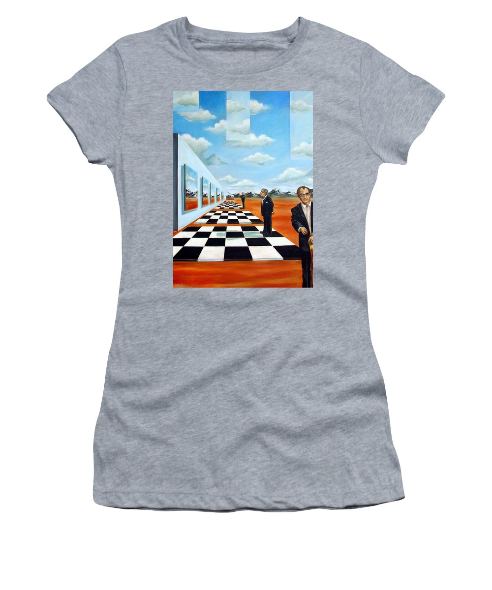 Surreal Women's T-Shirt featuring the painting The Gallery by Valerie Vescovi