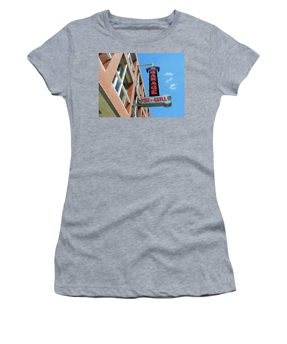 Pub Women's T-Shirt (Athletic Fit) featuring the photograph The Garage Pub by Nancy Aurand-Humpf