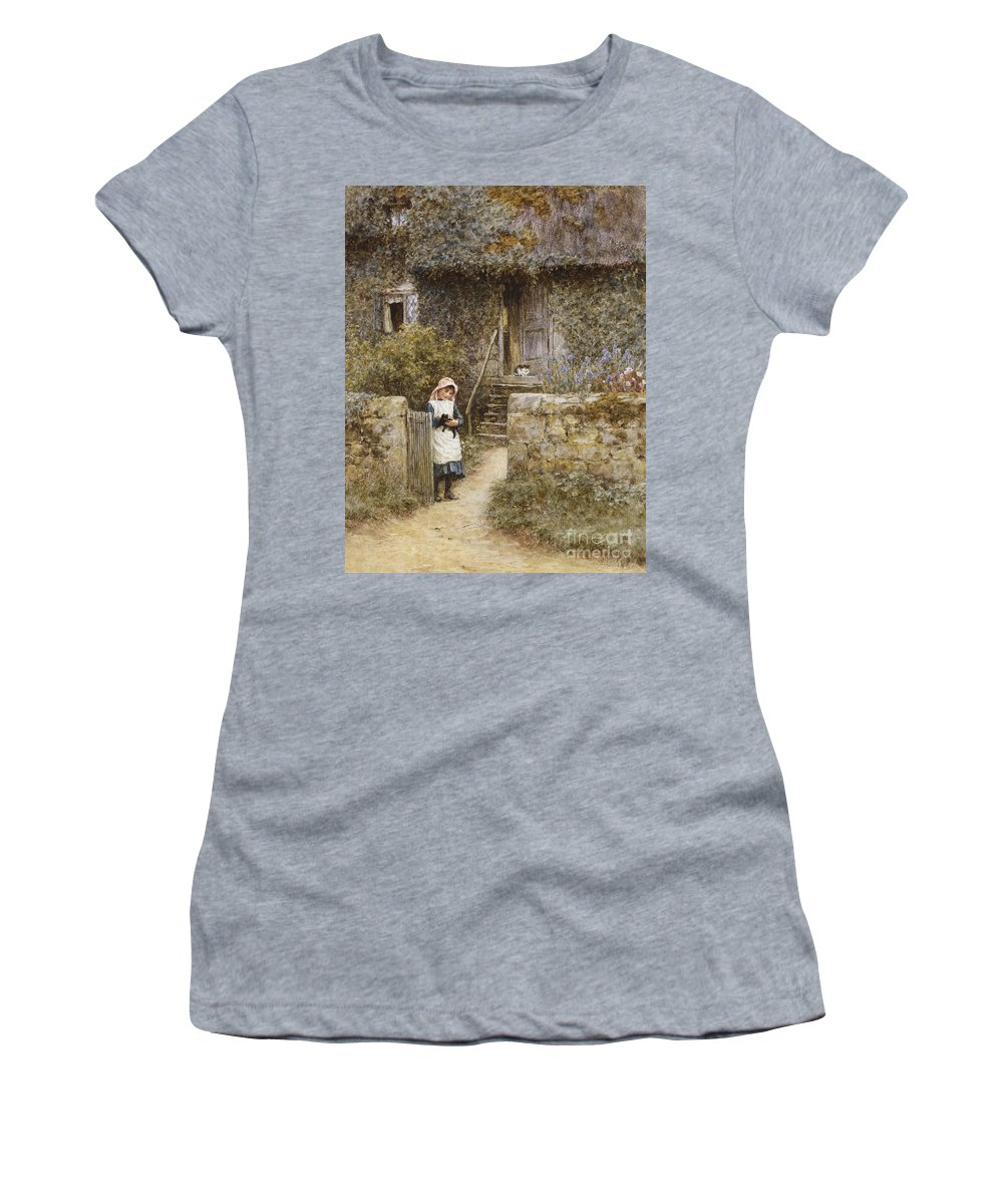 Cottage; English; Landscape; Rural; Girl; Child; C19th; C20th; Path; Bonnet; Kitten; Cat; Ivy; Creeper; Victorian Women's T-Shirt (Athletic Fit) featuring the painting The Garden Gate by Helen Allingham