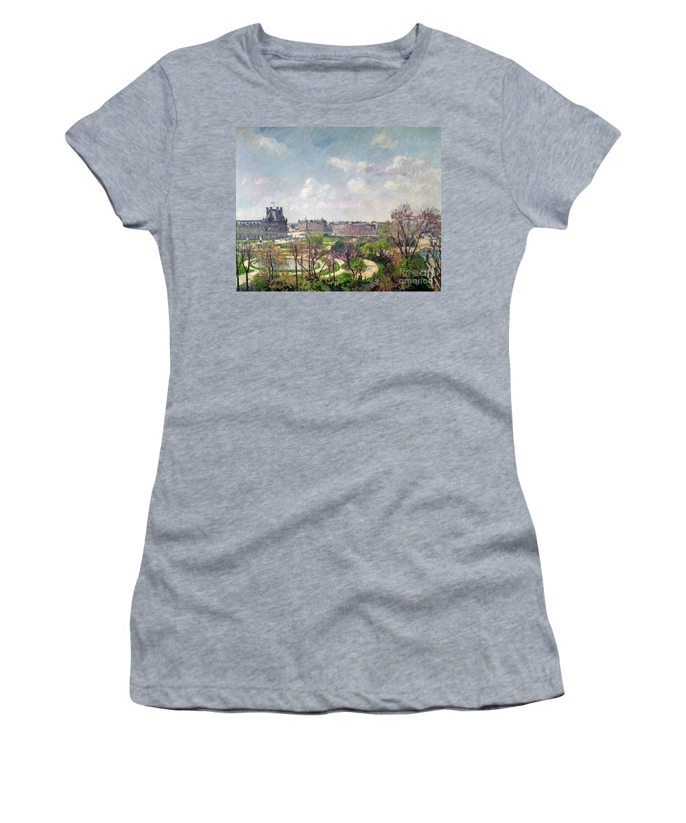 The Women's T-Shirt featuring the painting The Garden Of The Tuileries by Camille Pissarro