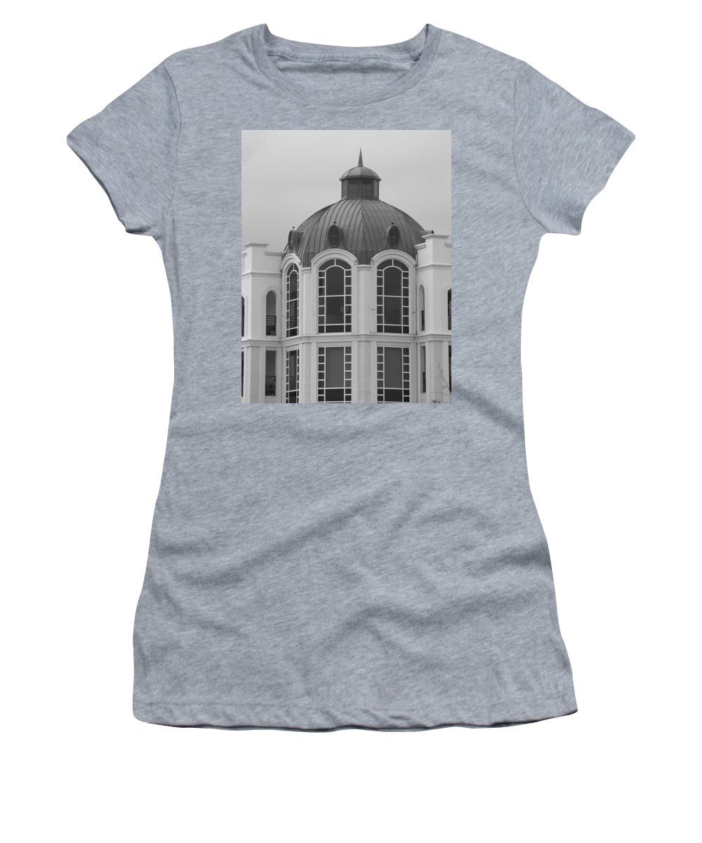 Black And White Women's T-Shirt (Athletic Fit) featuring the photograph The Glass And Brass Tower by Rob Hans