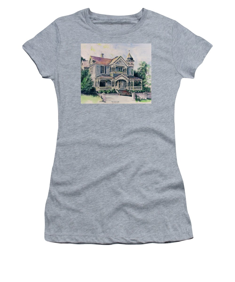 Custom Art Martinsville Virgiinia Historic Building Real Estate Women's T-Shirt (Athletic Fit) featuring the painting The Gray Lady by Maggie Clark