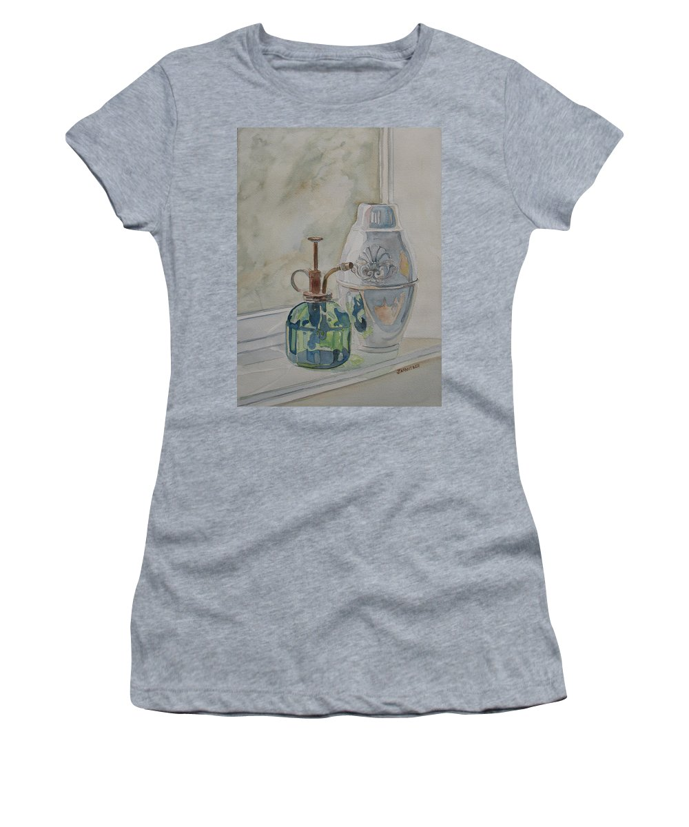 Plant Mister Women's T-Shirt (Athletic Fit) featuring the painting The Green Mister by Jenny Armitage