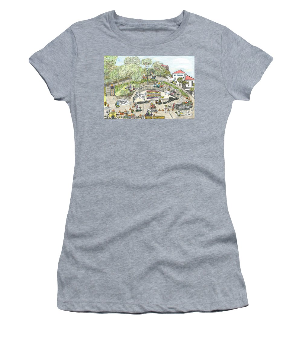 Gumball Rally Women's T-Shirt (Athletic Fit) featuring the drawing The Gummyball Rally. by Steve Royce Griffin