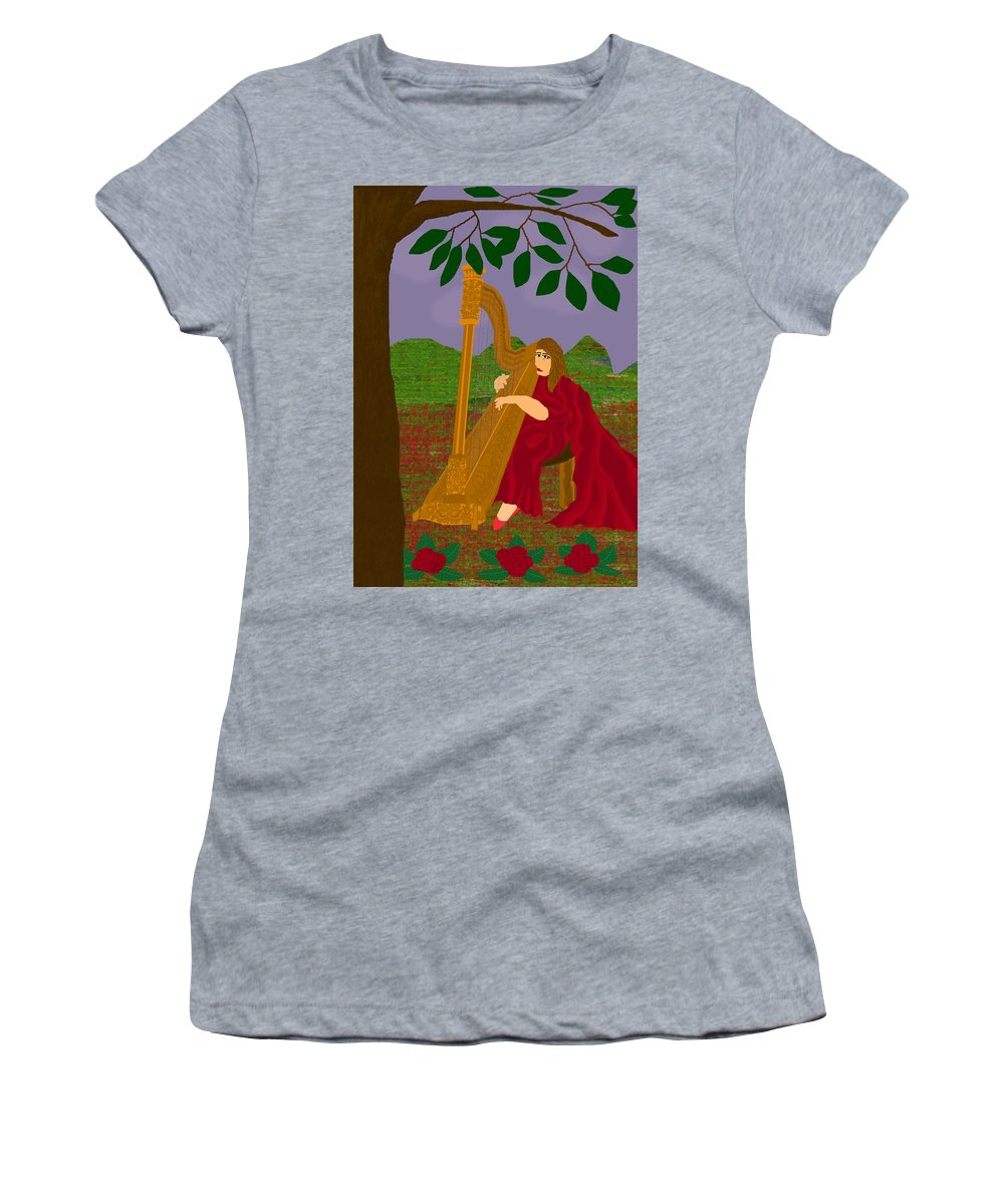 Harpist Women's T-Shirt (Athletic Fit) featuring the digital art The Harpist by Funiworks