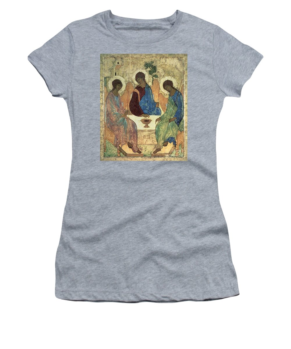 The Women's T-Shirt featuring the painting The Holy Trinity by Andrei Rublev