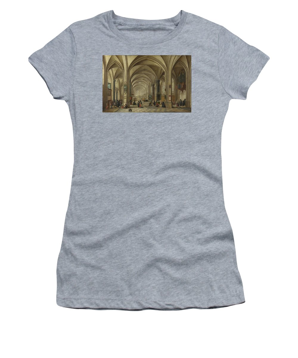 Hendrick Women's T-Shirt (Athletic Fit) featuring the digital art The Interior Of A Gothic Church Looking East  by PixBreak Art