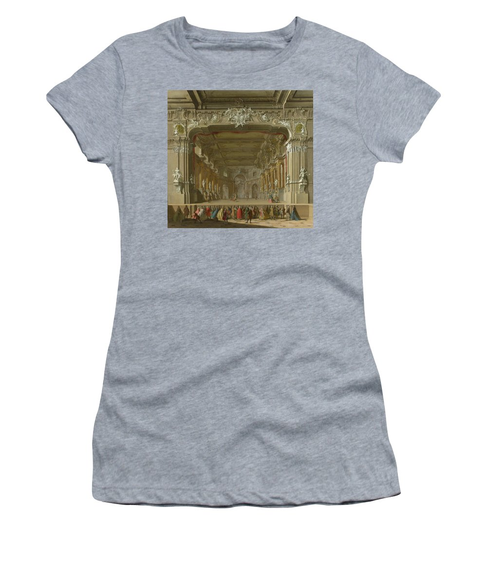 Italian Women's T-Shirt (Athletic Fit) featuring the digital art The Interior Of A Theatre by PixBreak Art