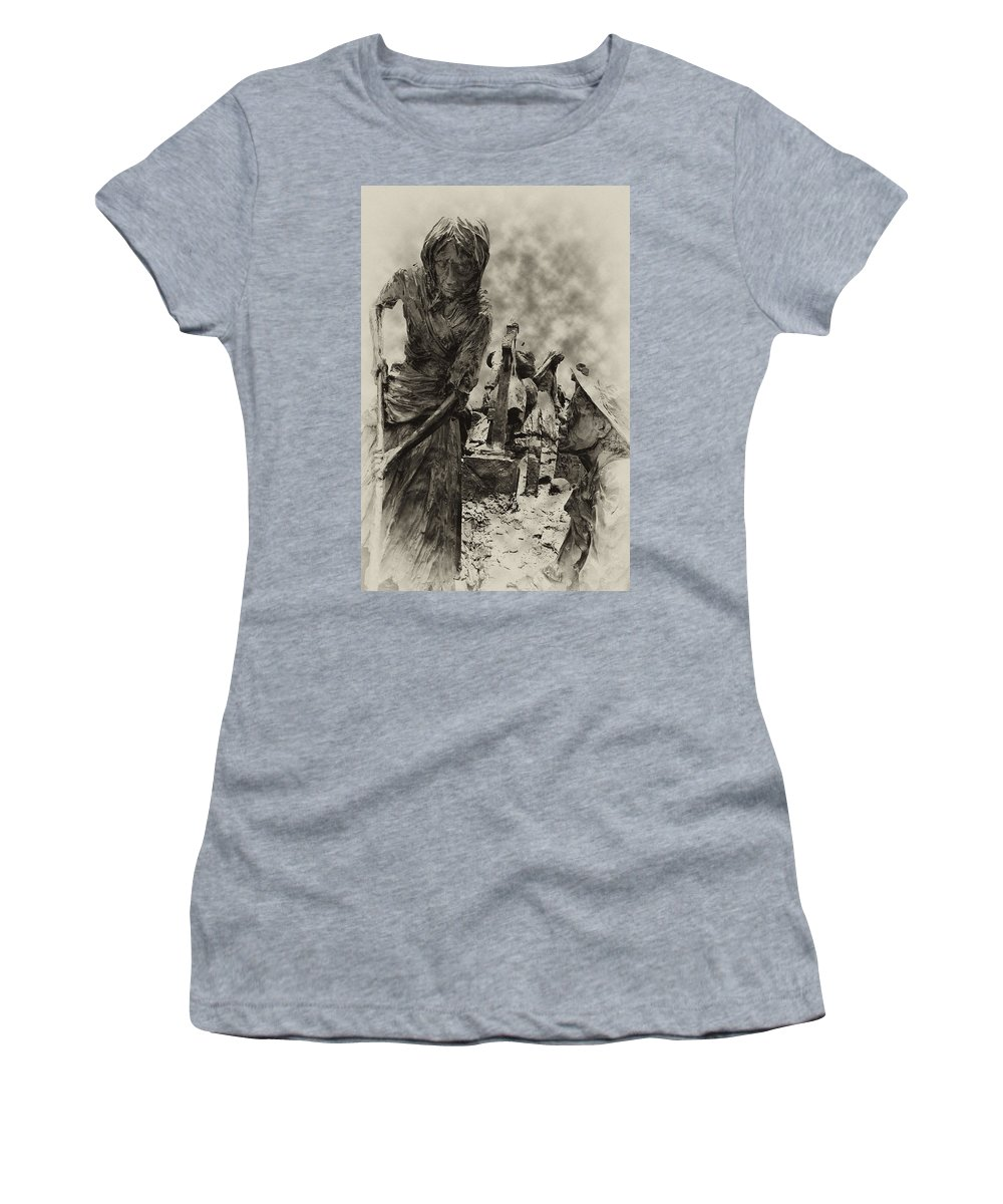 Philadelphia Women's T-Shirt (Athletic Fit) featuring the photograph The Irish Famine by Bill Cannon