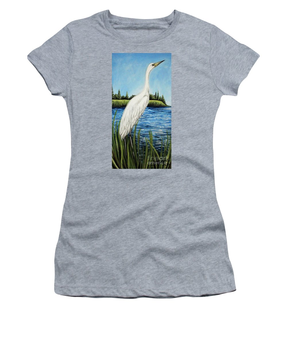 Landscape Women's T-Shirt (Athletic Fit) featuring the painting The Island's Egret by Elizabeth Robinette Tyndall