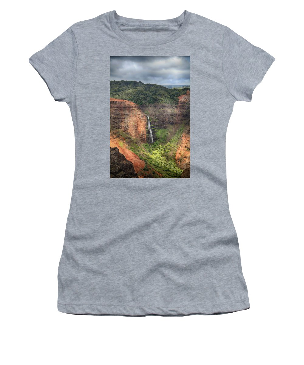 Waipo'o Falls Women's T-Shirt featuring the photograph The Kind Of Love That Lasts Forever by Laurie Search