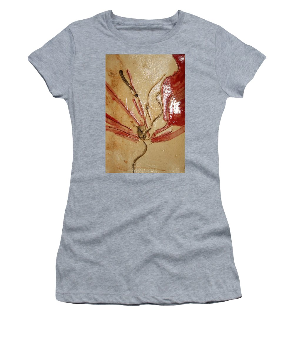 Gloria Ssali Women's T-Shirt (Athletic Fit) featuring the ceramic art the Kiss - tile 2 by Gloria Ssali