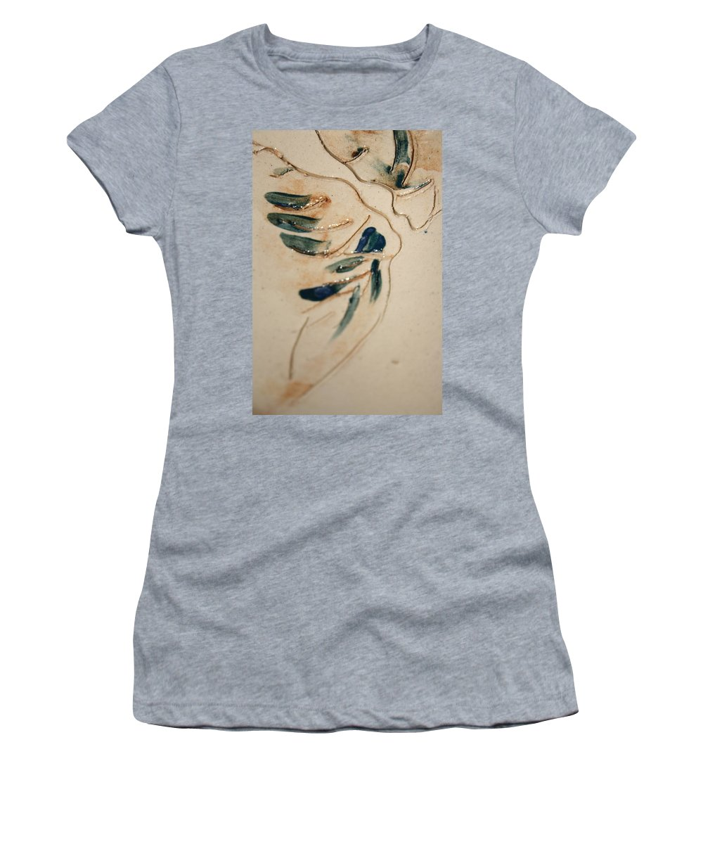 Gloria Ssali Women's T-Shirt (Athletic Fit) featuring the ceramic art the Kiss - tile 3 by Gloria Ssali