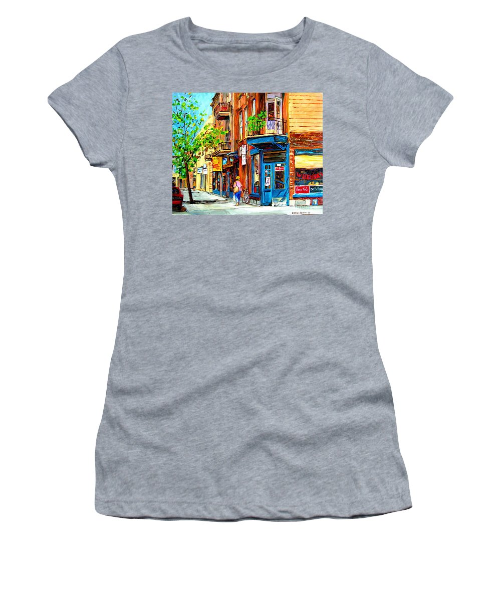 Wilenskys Women's T-Shirt (Athletic Fit) featuring the painting The Lady In Pink by Carole Spandau