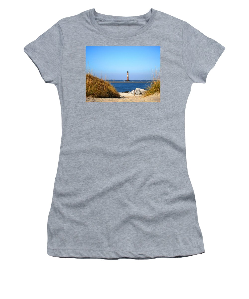 Photography Women's T-Shirt featuring the photograph The Lighhouse At Morris Island Charleston by Susanne Van Hulst