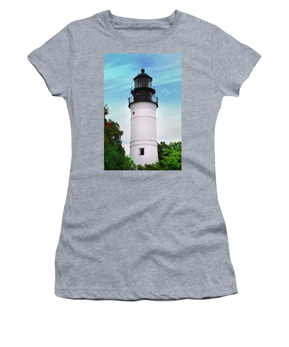 Lighthouse Women's T-Shirt (Athletic Fit) featuring the photograph The Lighthouse At Key West Florida by Bill Cannon