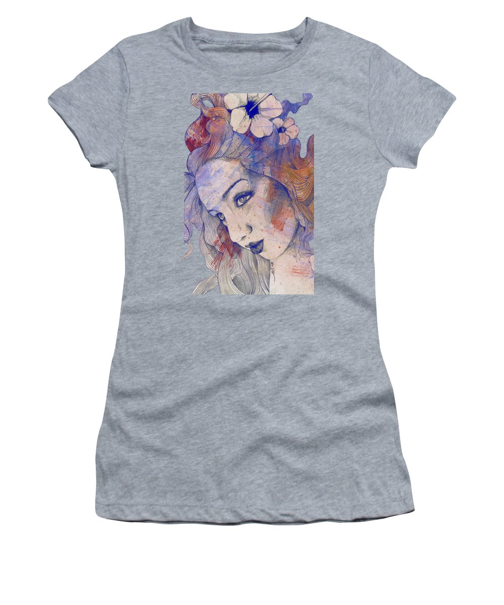 Pencil Women's T-Shirt featuring the painting The Lowest Common Denominator - Peach by Marco Paludet