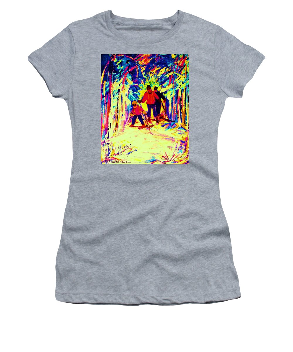 Skis Women's T-Shirt (Athletic Fit) featuring the painting The Magical Skis by Carole Spandau