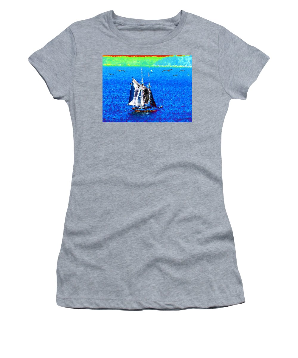 Sail Women's T-Shirt (Athletic Fit) featuring the digital art The Messengers by Tim Allen