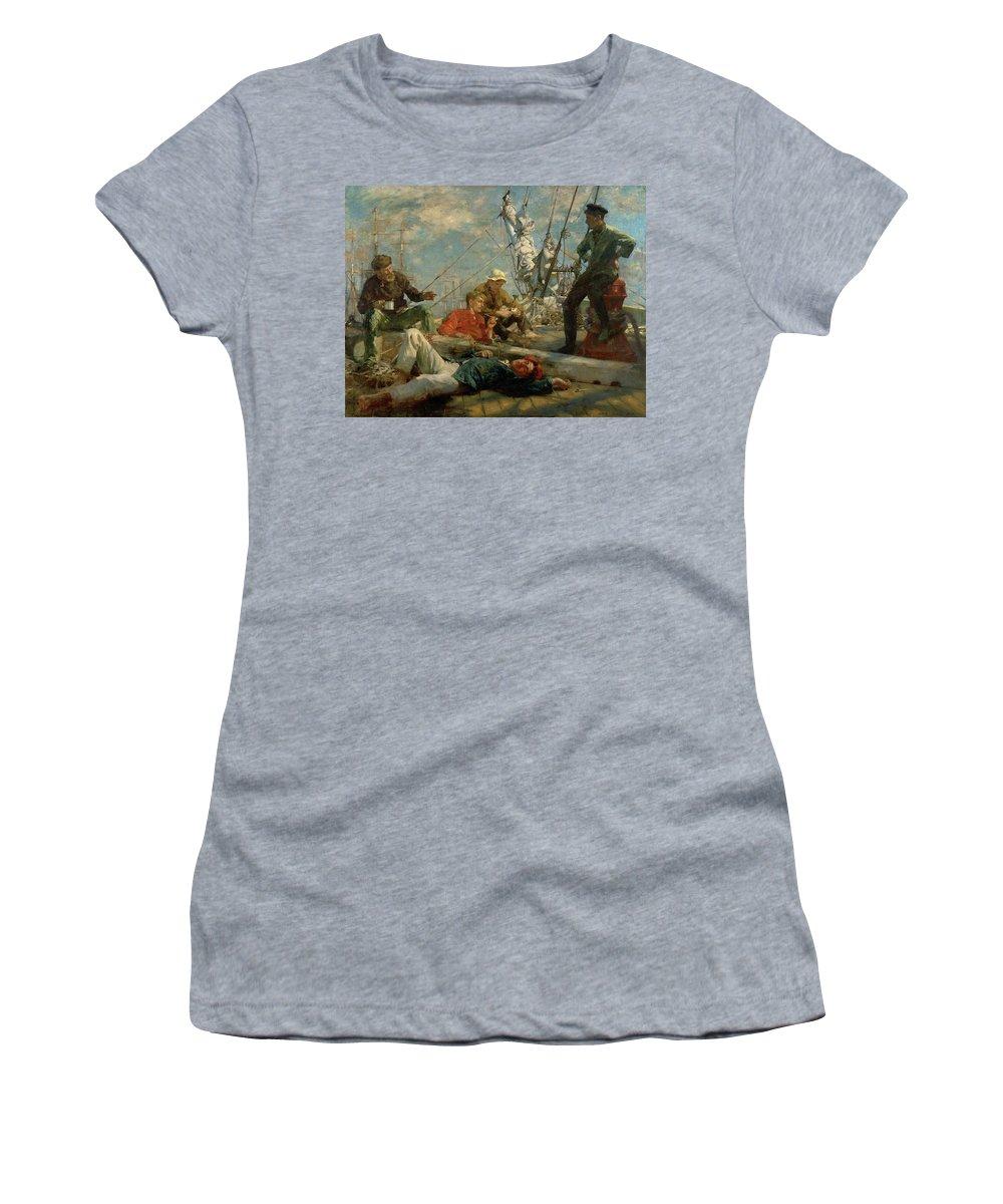 Marine; Ship; Resting; Break; Lying Down; Dozing; Talking; Conversation; Pipe; Mug; Mast; Deck; Marine; Old Salt; Newlyn School Women's T-Shirt featuring the painting The Midday Rest Sailors Yarning by Henry Scott Tuke