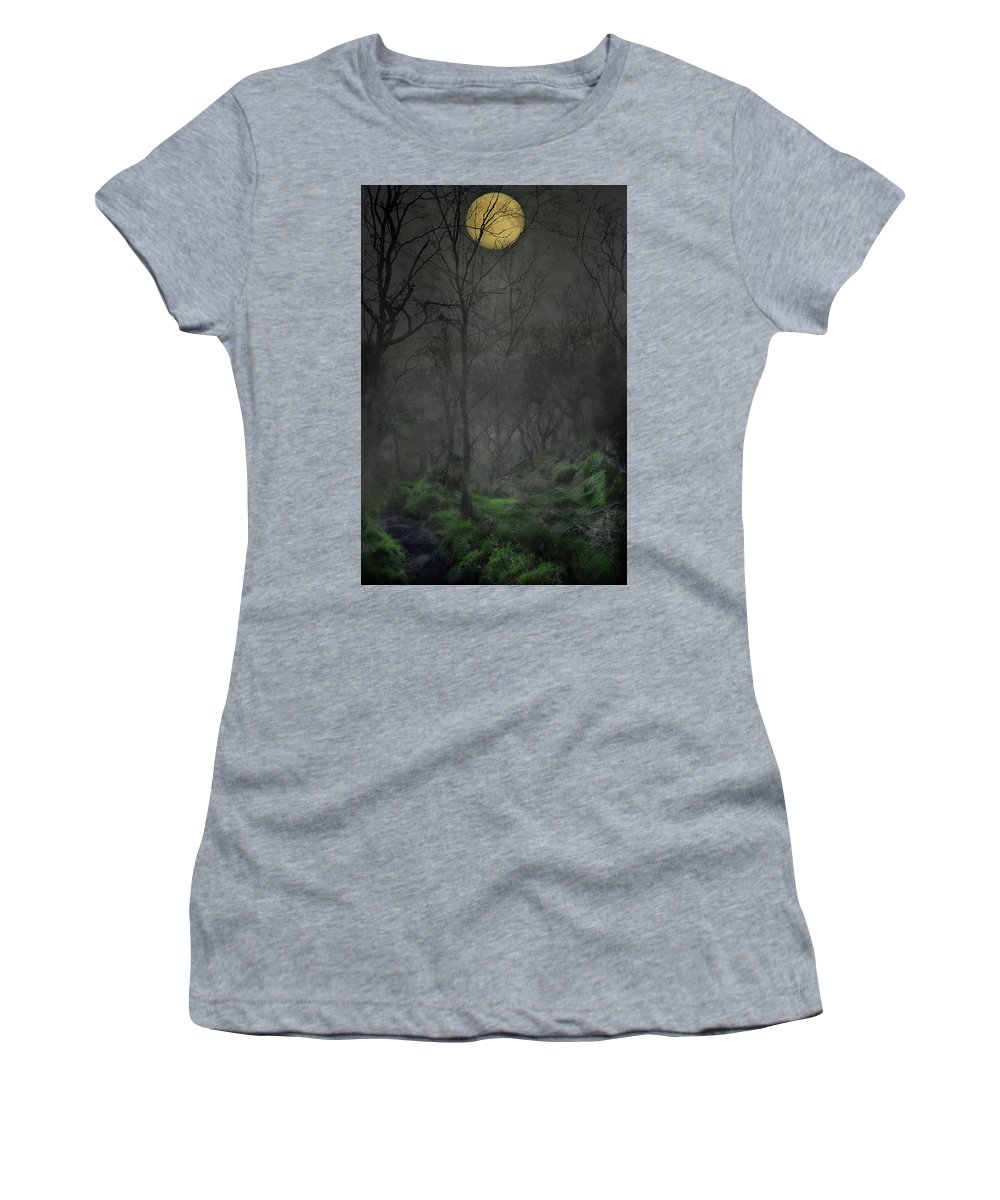 Full Women's T-Shirt (Athletic Fit) featuring the mixed media The Moon Over Guisecliff by Mark Hunter