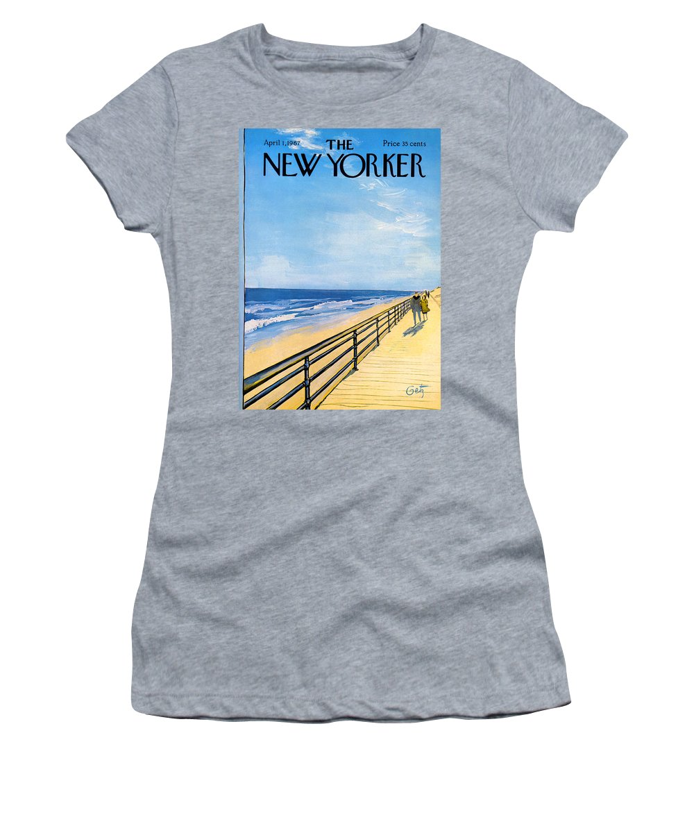 Arthur Women's T-Shirt featuring the painting The New Yorker Cover - April 1st, 1967 by Arthur Getz