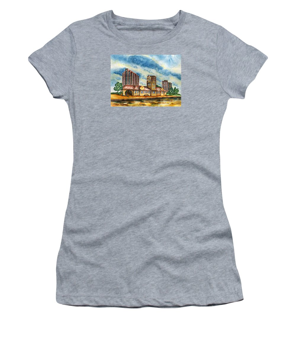 Cityscape Women's T-Shirt featuring the painting The Old Train Station  by Ragon Steele