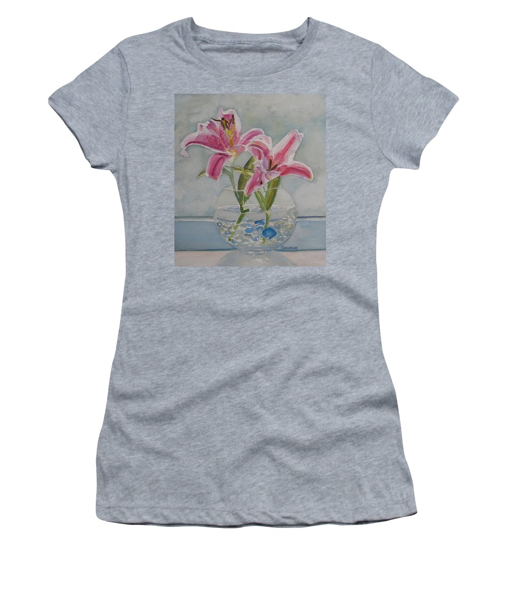 Lily Women's T-Shirt featuring the painting The Opening by Jenny Armitage