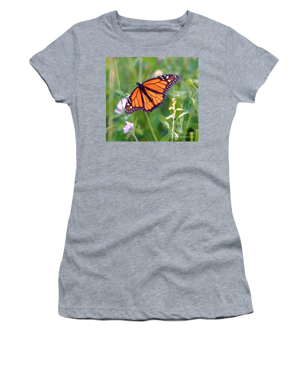 Butterfly Women's T-Shirt (Athletic Fit) featuring the photograph The Orange Butterfly by Robert Pearson