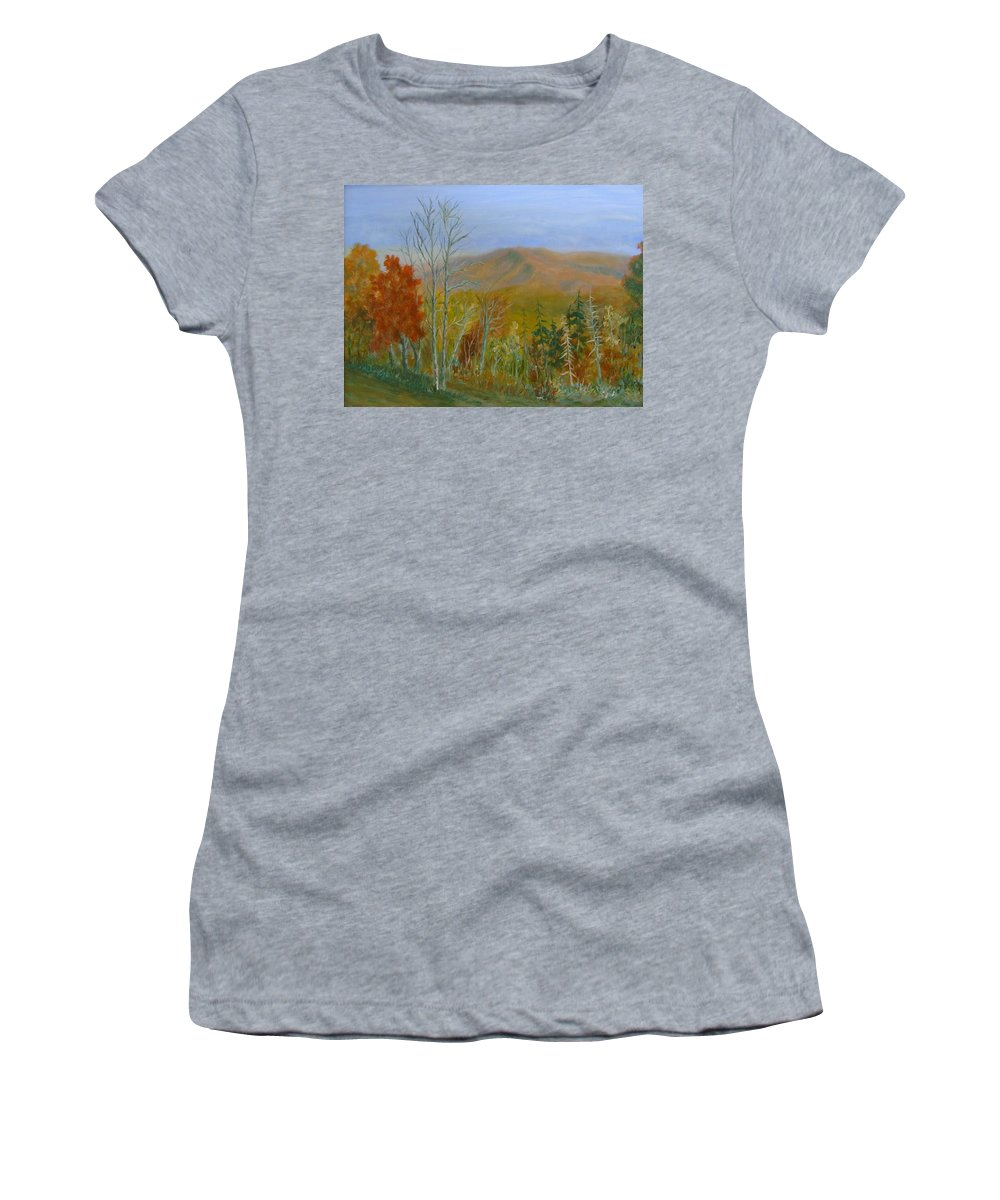 Mountains; Trees; Fall Colors Women's T-Shirt featuring the painting The Parkway View by Ben Kiger