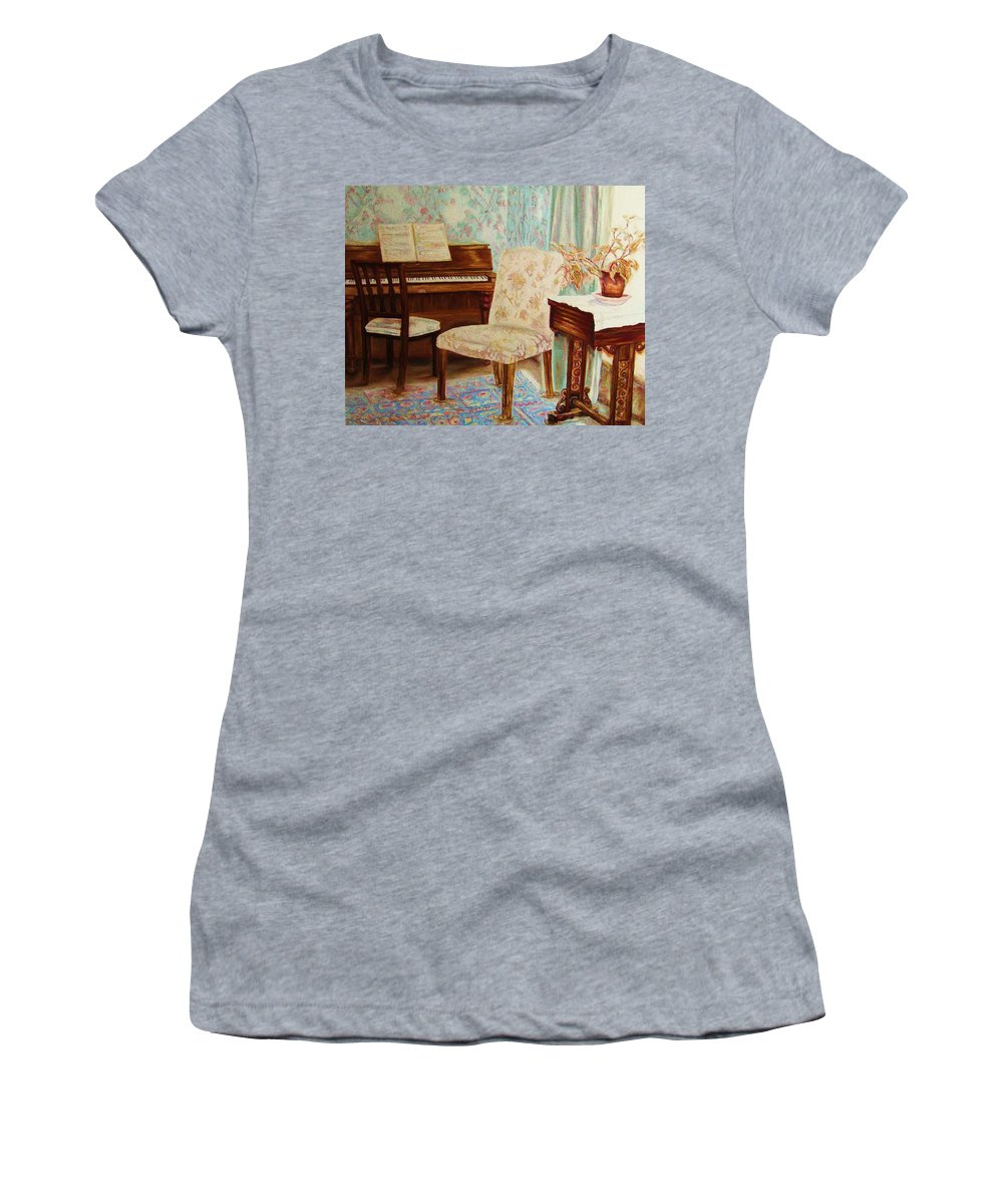 Iimpressionism Women's T-Shirt (Athletic Fit) featuring the painting The Piano Room by Carole Spandau