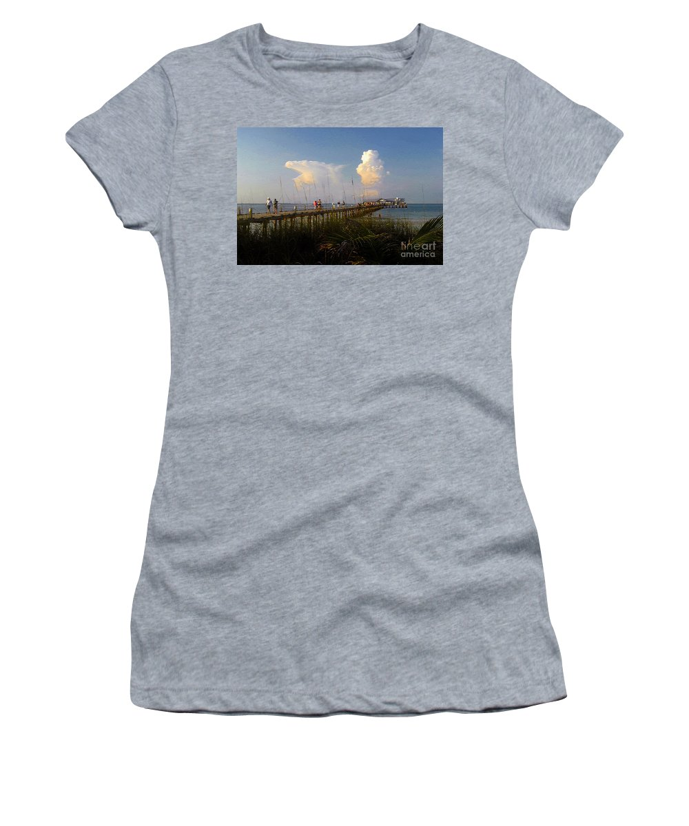 Pier Women's T-Shirt (Athletic Fit) featuring the photograph The Pier On Anna Maria Island by David Lee Thompson