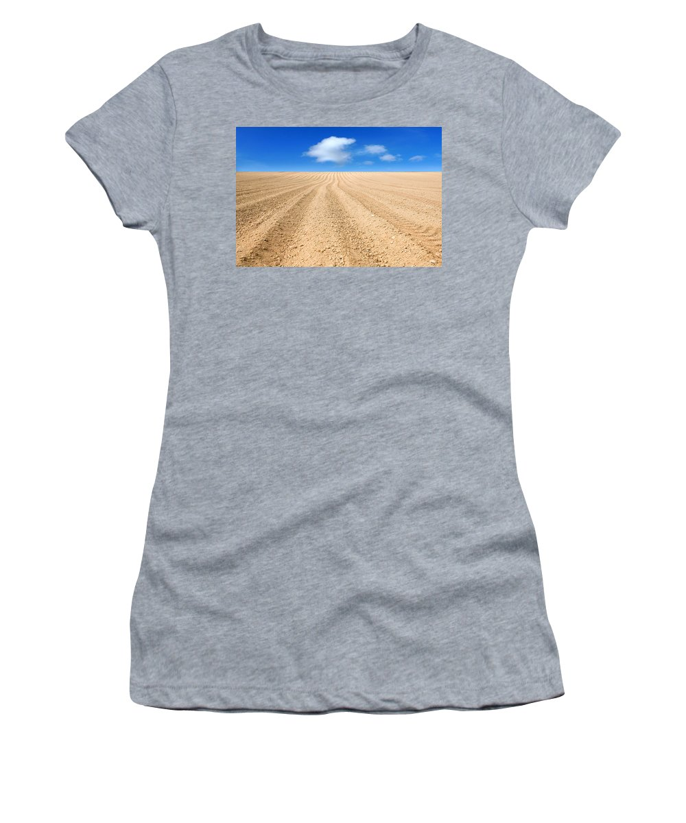 Ploughed Women's T-Shirt (Athletic Fit) featuring the photograph The Ploughed Field 2 by Mal Bray