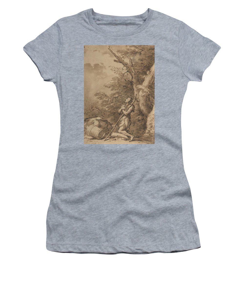 17th Century Art Women's T-Shirt featuring the drawing The Prodigal Son Kneeling Repentant Among Swine by Salvator Rosa