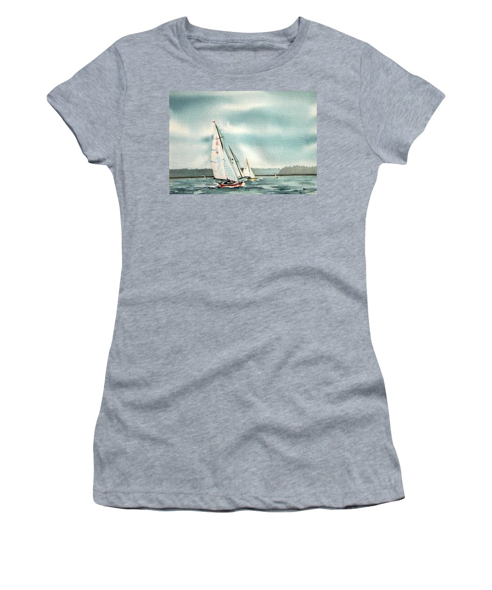 Sailing Women's T-Shirt (Athletic Fit) featuring the painting The Race by Gale Cochran-Smith