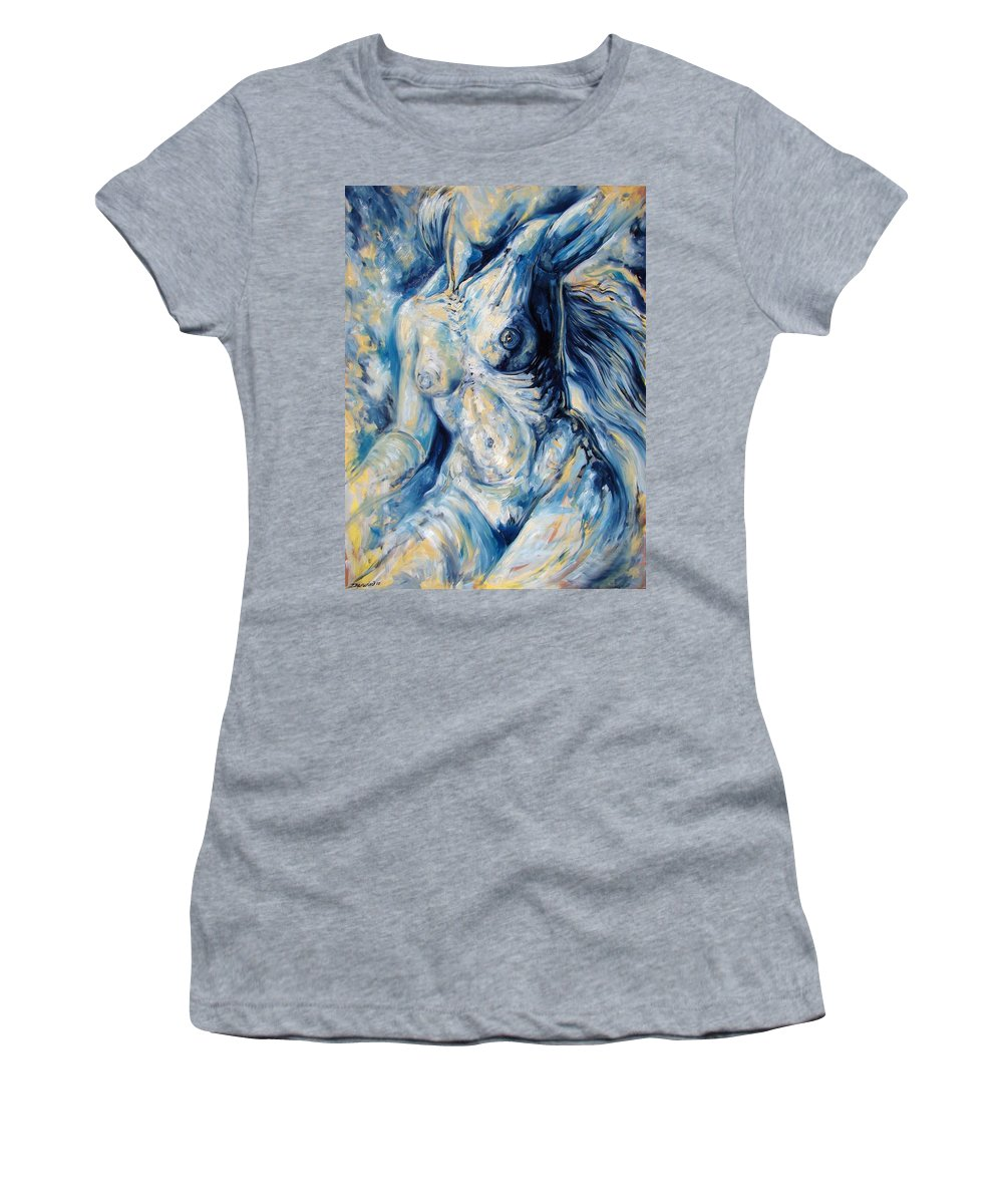 Surrealism Women's T-Shirt (Athletic Fit) featuring the painting The Re-invention Of The Human Figure II by Darwin Leon