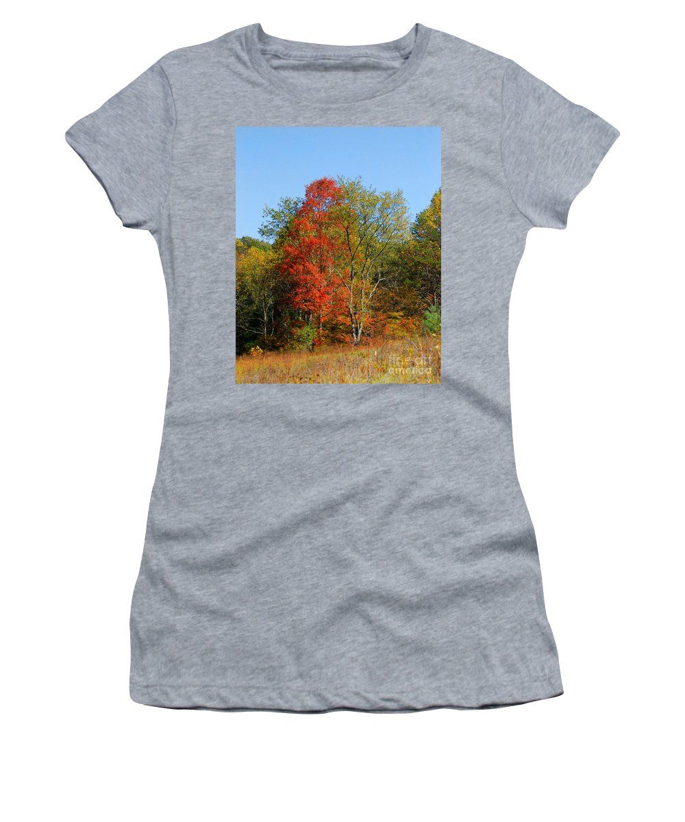 Autumn Women's T-Shirt (Athletic Fit) featuring the photograph The Reds And Greens Of Autumn by Kerri Farley